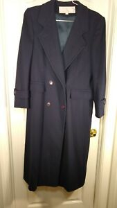 Evan Picone VTG Womens Navy Blue 100% Wool Long Trench Coat Sz 8