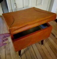Vintage MCM Stool Seat ~ Orange Vinyl Lift Up Lid Storage ~ Mid Century