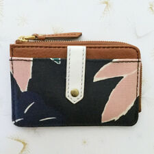 Fossil Floral Wallet Keely Tab Card Case Coated Canvas Zipper Closure