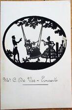 Silhouette on 1933 Menu - Borgerhout/Antwerp, Belgium - Woman on Swing