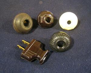 Lot of (5) Nice Antique Vintage Bakelite Electrical Plugs Lamp Fan Radio Repair