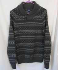 OLD NAVY Women's Pullover Fairisle Shawl Neck Grey Sweater Size Medium