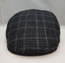 High Quality Black,Navy Overcheck Flat Cap Herringbone Tweed Hat Mens 100% Wool