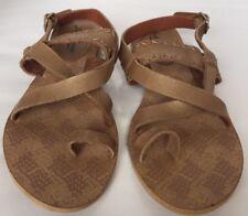 New Luck Brand Idaho Women Gladiator Like Leather Flat Sandals Sz 6 Tan