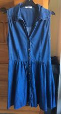 Oasis Denim Sleeveless Shirt Dress Size 12
