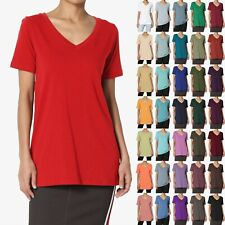 TheMogan S~3X Basic Plain V-Neck Short Sleeve Slim Fit T-Shirt Long Tunic Tee