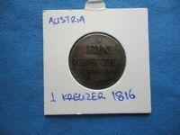 AUSTRIA EIN KREUZER 1816A,OLD COPPER COIN,VF.NICE DETAILS.