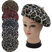 NEW CASHMERE Fashion Leopard Print French Style Beret Cap Hat Soft Cosy UK