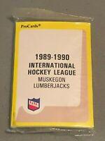 1989-90 PRO CARDS IHL MUSKEGAN LUMBERJACKS TEAM SET Factory Sealed