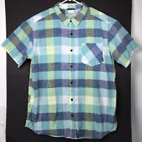 Columbia Mens Shirt XXL Plaid Blue Green Short Sleeve Lightweight Cotton 2XL