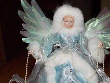 Roman Fiber Optic Tree Top Angel Christmas 8 1/2 inch with Porcelain head hands