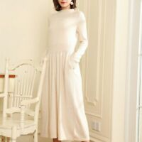 woman Winter Cashmere sweaters knitted Dresses Pullovers Warm Knee-Length