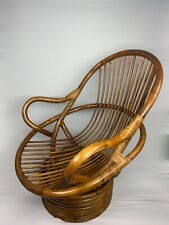 Vintage Bamboo Swivel Tilt Lounge Chair