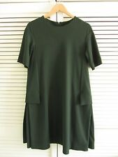 COS A-LINE DARK GREEN DRESS WITH POCKETS, SIZE S, EUR 38, UK 10-12, USED ONCE