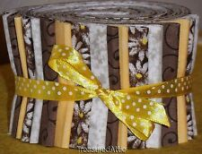 "Quilting Fabric Jelly Roll 20~2.5"" Fabric Strips Brown Yellow Off White Floral"