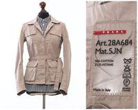 Women's PRADA Belted Field Jacket Coat Beige Size IT 42 US 6
