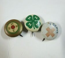 Lot of 3 Vintage Buttons Pinbacks 4H Red Cross Bmwe Imber Co Greenduck Co