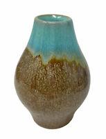 Vintage MCM Pottery Bud Vase Earth Tones Brown Blue Green Shiny Metallic
