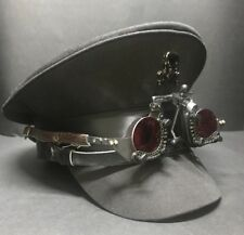 Steampunk Black Cotton Military Hat With Optical Goggles In Red  Lens 57,58,59cm