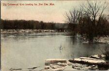 1908. NEW ULM, MN. BIG COTTONWOOD RIVER BREAKING ICE. POSTCARD GG4