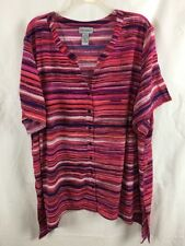 Catherines Womens Blouse Size 3X Pink Orange Purple Stripe B7*B