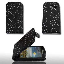 Design 3 Flip Handy Tasche Cover Hülle Etui Strass für Samsun i8160 Galaxy Ace 2