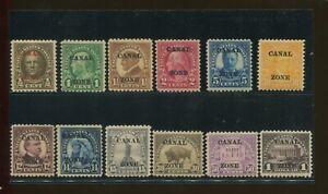 1904 Canal Zone Panama Envoi Tampon #70-81 Excellent État F/VF Ensemble
