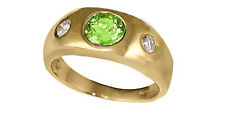 14K Yellow Gold 6mm Round Peridot and 0.20cttw Diamond Ring (size 6.1/4) R536