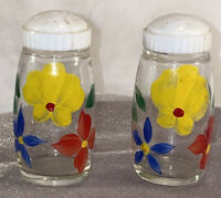 Vintage Pair GAY FAD Multi Flowers Floral Salt and Pepper Shakers with Lids S&P