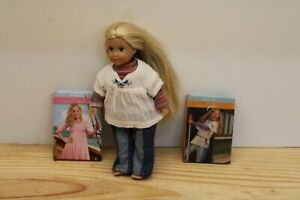 """American Girl doll MINI Julie doll 6"""" Cute with book & Extra book"""