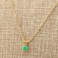 Natural 5mm Round Zambian Emerald 14k Gold Filled Pendant Necklace Gift Boxed