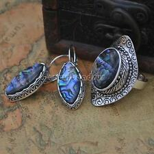 Fashion Women Antique Silver Color Shell Ring Earrings Abalone Shell Jewelry Set