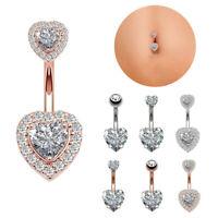 Heart CZ Belly Button Bar Barbell Drop Dangle Body Piercing Navel Ring Bars - UK