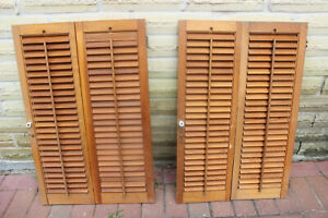"""PAIR OF 30"""" TALL X 19"""" WIDE WOOD INTERIOR LOUVER PLANTATION WINDOW SHUTTERS"""