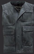 Star Wars The Force Awakens Han Solo Distressed Cowhide Leather Vest Jacket