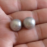 echte kultivierte 13-14mm grau Süßwasserperle 925 Silber Ohrstecker