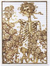 GOLD BERTHA SKELETON AND ROSES GRATEFUL DEAD  QUALITY BLOTTER ART STANLEY MOUSE