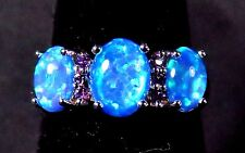 Sterling 925 Silver SF Size 7 Ring 8*6mm & 7*5mm Blue Lab Opal & Amethyst Accent