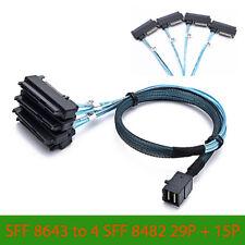 3 Feet Mini SAS SFF-8643 to 4x SFF-8482 29pin connectors + SAS 15pin Power Cable