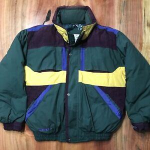 Vintage Triple Fat Goose Jacket Coat Parka Mens L Purple Color Block Green Down