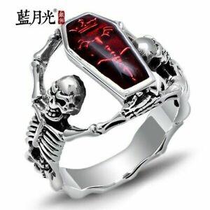 Heavy Stainless Steel Gothic Punk Biker Rings Fashion Mens Skull Jewelry Sz 10