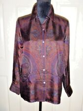 Couture Blouse RALPH LAUREN Rusts Paisley Collar Long Sleeve Silk 10 Petite
