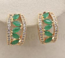 18K Gold Filled - Tiger Eye Hollow Leaf Emerald Topaz Multilayer Party Earrings