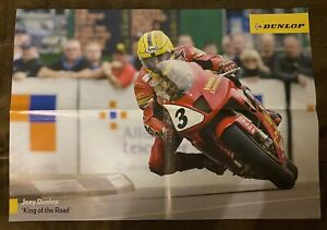 """Joey Dunlop & John McGuinness TT poster, 16.5""""x23.25"""", MCN newspaper insert, UK"""