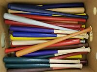 "Lot of 25 Mini Souvenir Baseball Bats 18"" Real Wood Blemish Bats Multi Color"