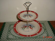 "2-TIER TIDBIT ""SNOWMAN"" HOLIDAY SERVER/WHT-RED-VARIOUS/SILVER DIVIDER/FREE SHIP!"