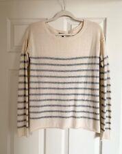Vince 100% Cashmere Cream White Grey Silver Sweater Striped Size M