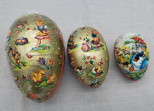 Vintage paper mache egg lot West Germany holiday Easter x 3