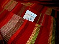 """Set (4) Woven Red Striped 100% Cotton PLACEMATS Made In India 17"""" x 13""""       97"""