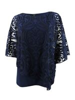 MSK Women's Lace Overlay Top (S, Navy)